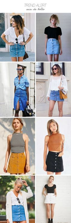 Visual denim skirt outfits, fashion e fashion outfits. 90s Fashion, Fashion Looks, Fashion Outfits, Womens Fashion, Fashion Trends, Looks Style, Casual Looks, Skirt Outfits, Casual Outfits