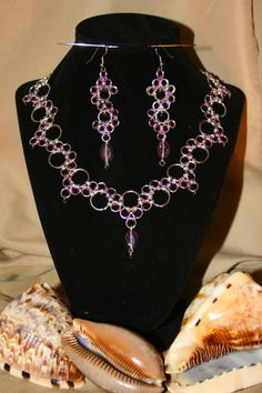 Silver and Amethyst Chainmaille Necklace and by 2IfBySeaDesigns