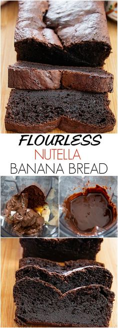 Super moist and chocolatey. Just 5 ingredients a… Flourless Nutella Banana Bread. Super moist and chocolatey. Just 5 ingredients and the batter is made in a blender! Just Desserts, Delicious Desserts, Dessert Recipes, Yummy Food, Tasty, Gluten Free Desserts, Desserts Nutella, Healthy Nutella Recipes, Cake Recipes