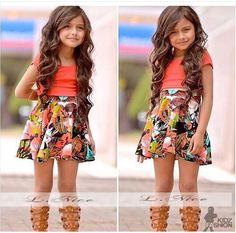 Girls Patterned Print Summer Dress ~ ONLY $19.99 ~ Buy At: http://www.dashingbaby.com/collections/girls-kid-clothes/products/girls-patterned-print-summer-dress