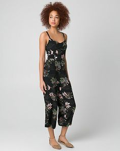 Floral Print Viscose Crêpe Culotte Jumpsuit - Jump start your day in a fashionable jumpsuit styled with fluid, wide legs, pockets and all-over blooms.