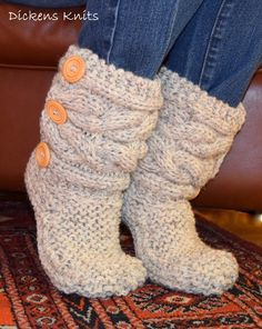 Soft Wool Cable Knit Slipper Boots $40.  Available at:  https://www.etsy.com/shop/DickensKnits?ref=hdr_shop_menu  10% off for Pinterest Shoppers using coupon code PIN10.
