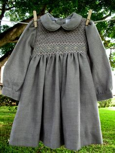 Classic winter or fall hand smoked baby dress Garden dress