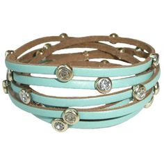 Adorning Ava Leather Bracelet (£8) ❤ liked on Polyvore featuring jewelry, bracelets, accessories, mint, lipsy, mint jewelry, leather bangle, leather jewelry and mint green jewelry