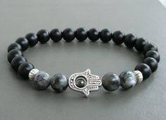 HAMSA armband zwart Lava Boeddha armband mannen door MariZJewelry