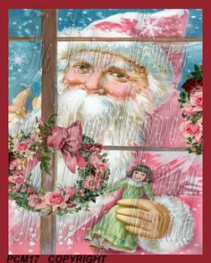Victorian Pink Santa Fabric Block Pink by mermaidfabricshop