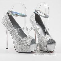 Wholesale Recommend Sexy Embroided White Wedding Shoes Peep Toe High Platform Stiletto Dress Shoes 3 Colors, Free shipping, $32.7-39.53/Pair | DHgate
