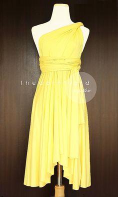 c403158e9e TDY Yellow Short Asymmetrical Bridesmaid Dress Convertible Dress Infinity  Dress Multiway Wedding Cocktail Dress (Regular   Plus Size)