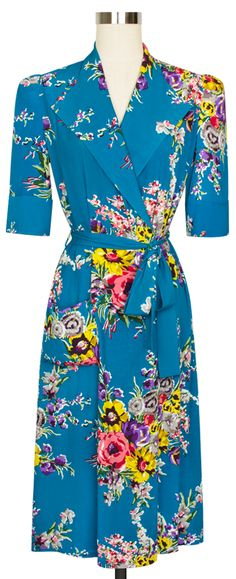 NEED. The Trashy Diva Hepburn Robe in Turquoise Floral makes a beautiful robe or overcoat!