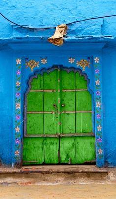 doorway from Rajasthan, India . bright blue and neon green . Cool Doors, Unique Doors, When One Door Closes, Door Gate, Grand Entrance, Painted Doors, Door Knockers, Doorway, Door Design