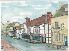 Winchcombe High Street and the White Hart---Oatley Art - Watercolour Artist in Winchcombe, Cheltenham (UK)