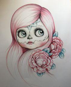 Blythe catrina art print by Musaenfuga on Etsy Tattoo Drawings, Pencil Drawings, Art Drawings, Tattoos, Tattoo Aquarelle, Grafik Art, Voodoo Doll Tattoo, Tattoo Painting, Catrina Tattoo