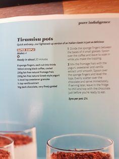 Slimming world tiramisu pots Slimming World Desserts, Slimming World Recipes, Tiramisu Recipe, Something Sweet, No Bake Desserts, Diets, Biscuits, Healthy Lifestyle, Healthy Eating