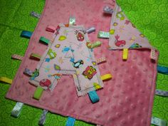 GIRLY BIRDIES Ribbon Taggie Blanket & Tag Toy Set by SoSewLovely