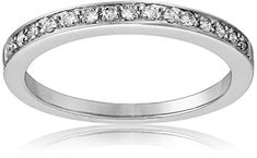 10k White Gold Round-Cut Diamond Ring (1/6 cttw, J-K Color, I2-I3 Clarity), Amazon Curated Collection