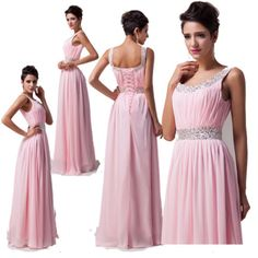 Long Chiffon Evening Formal Party Ball Gown Prom Bridesmaid Dress6 8 10 12 14 16[Pink,18,UK Size,Lace up]