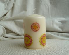 Candle hand decorated with Roses £5.95