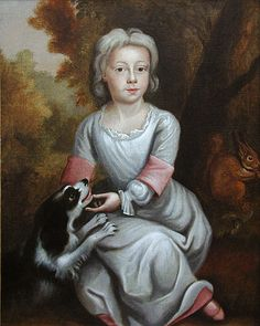 Portrait of a Young Boy with a Spaniel c.1700 - English School - A delightful portrait of a young boy, unbreeched, seated in a wooded landscape. In England & most of Europe from the mid 16th to late 19th century, young boys wore gowns & dresses until the age of 7 or 8 when they were dressed in breeches or trousers. The main indicators that the sitter is a boy are the short hair & hair style... Portraits were often painted with animals as visual clues to the identity & personality of the…
