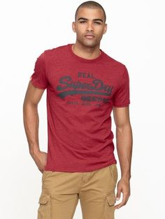 Superdry Mens Entry T-shirt - Red Marl, http://www.littlewoods.com/superdry-mens-entry-t-shirt---red-marl/1108389167.prd
