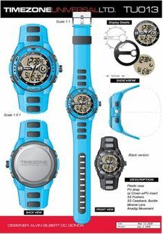 Time Zone Universal  LTD. Watches  designed by: Alvin Gilbert Dc. Gonda  abugonda@yahoo.com Design Development, Plastic Case, Casio Watch, Behance, Graphic Design, Watches, Concept, Accessories, Wristwatches