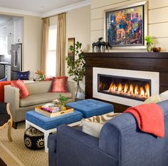 Love the modern gas fireplace look.