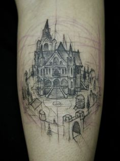 Incredible sketched castle tattoo. I just love that the ink marks are still there.