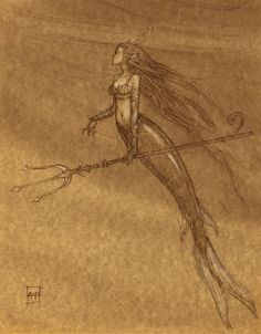 Mermaid with trident by aaronpocock.wordpress.com