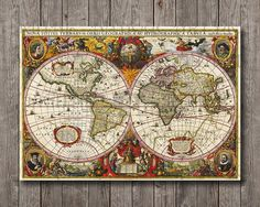Vintage GIANT Latin World Map from 1630, Antique maps Digital file Print Instant download for wall art, home and office decor 28x40
