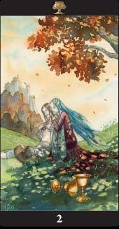 Two of Cups - Tarot of the Dream Enchantress Sun And Moon Tarot, All Tarot Cards, Le Tarot, Cup Art, Tarot Card Decks, Angel Cards, Tarot Readers, Oracle Cards, Sacred Art