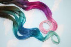 Pastel Tie Dye Tip Extensions, Dark Brown/Black, 20 inches long, Clip In Hair Extensions, Hippie Hair, Dip Dyed Tips. $47.00 USD, via Etsy.