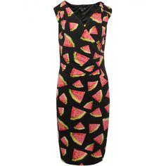 Smashed Lemon - Sort kjole med vandmeloner