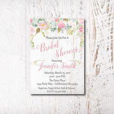 Pink Gold Floral Bridal Shower Invitation Printable Blush