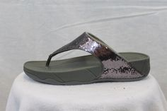 f5678257a805c8 FitFlop Fit Flops Electra Sequin Pewter MSRP  80 Thongs 6 7 8 9 NEW