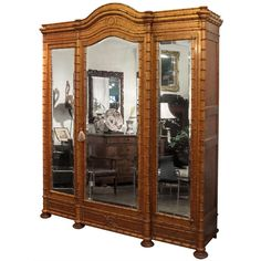 Faux Bamboo Three Door Armoire of Curly Maple | From a unique collection of antique and modern wardrobes and armoires at https://www.1stdibs.com/furniture/storage-case-pieces/wardrobes-armoires/
