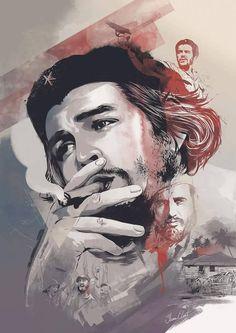 The Man, The Myth, The Legend, an art print by Ryan Konzelman Che Guevara Tattoo, Che Guevara Photos, Victor Jara, Pawan Kalyan Wallpapers, Ernesto Che Guevara, Galaxy Pictures, Estilo Rock, Fidel Castro, Pop Art
