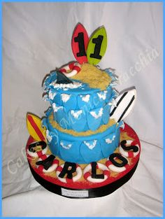 TORTA DECORADA TEMA SURF | TORTAS CAKES BY MONICA FRACCHIA