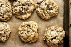Smitten Kitchen's Chocolate Chip Oatmeal and Pecan cookies.  The cinnamon, nutmeg and cloves make these our favorite fall chocolate chip cookies.