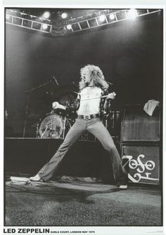Robert Plant demonstrates his Rock front-man skills in this great Led Zeppelin poster - from a live show at London's Earls Court in 1975! Ships fast. 23x34 inches. Ramble On over and check out the res