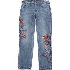 Bleach Wash Floral Embroidered Tapered Jeans ($28) ❤ liked on Polyvore featuring jeans, pants, bleached jeans, tapered fit jeans, blue jeans, bleached blue jeans and blue denim jeans