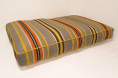 Colorful Stripe Dog Bed Stripe Orange Yellow by jadorepetbeds