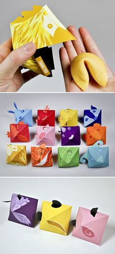 Fortune Cookie Packaging, Animals, Origami, Open Mouth, Colourful, Creative