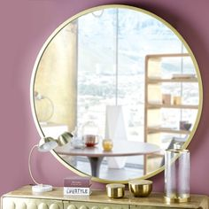 Miroir rond en métal doré D.159cm STRATFORD