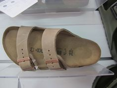 Birkenstock slides in natural leather with suede lining   #birkenstock