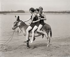 At Arlington Beach, Hazel Watson, Eleanor Howell and Marjie Peacock, photographed July 30 1924 by the National Photo Company on 4x5 negative.