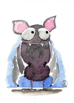 ACEO Original watercolor painting Lucia Stewart woodland whimsical fruit bat #IllustrationArt