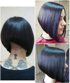 go shorter Black Bob Hairstyles, Short Bob Haircuts, Sleek Hairstyles, Trending Hairstyles, Line Bob Haircut, Haircut For Thick Hair, Melena Bob, Short Hair Cuts, Short Hair Styles