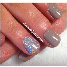 Gorgeous grey gel polish and silver glitter