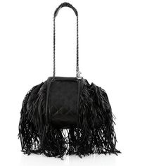 Pre-Owned Chanel Paris-Dallas Drawstring Fringe Shoulder Bag Quilted... ($3,025) ❤ liked on Polyvore featuring bags, handbags, shoulder bags, black, quilted shoulder bag, western handbags, western purses, fringe handbags and quilted purses