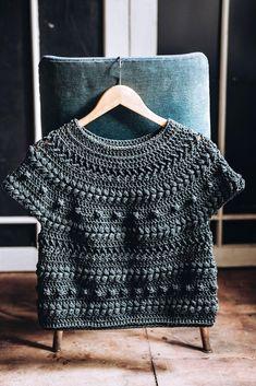 Crochet Top Pattern PDF - Zalktis Top - textured top pattern in English Easy Crochet Patterns, Crochet Stitches, Free Crochet, Knitting Patterns, Knit Crochet, Crochet Blouse, Crochet Clothes, Crochet Projects, Knitwear