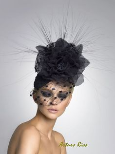 Black Couture Fascinator Cocktail hat Derby Hat by ArturoRios, $210.00